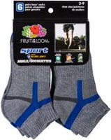 Fruit of the Loom Boys' 6-Pack Sport Large Ankle Socks