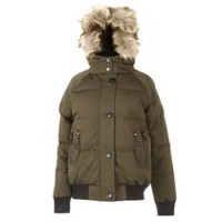 Canadiana Women's Hooded Bomber Jacket Green M