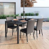 CorLiving Sonax PPT-602-T Park Terrace Charcoal Black Weave Patio Dining Table