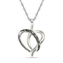 "Sterling Silver ""Marcasite"" Heart Pendant"
