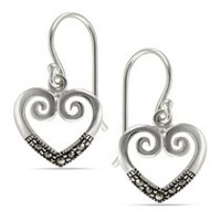 "Sterling Silver ""Marcasite"" Heart Drop Earring"