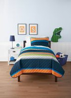 Mainstays Kids Space Reversible Solid Quilt Set Twin