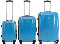 Champs Swiss Collection Hardside Spinner Luggage Case Set of 3 Blue