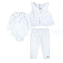 George Girls' 3-Piece Paint & Vest Set White 0/3M