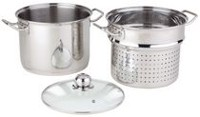 Paderno 8 L Stock Pot with 9 L Steamer and Glass Lid