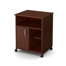 South Shore Fiesta Microwave Cart with Storage on Wheels Royal Cherry