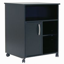 South Shore Fiesta Microwave Cart with Storage on Wheels Black
