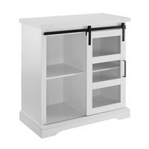 """Manor Park 32"""" Sliding Glass Door Accent Cabinet, Solid White"""