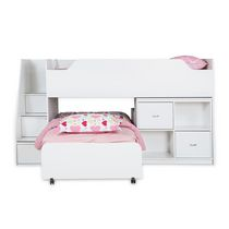 "South Shore Mobby Twin Loft Bed with Trundle and Storage Unit, 39"" White"