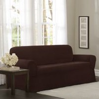 Mainstays Newman Stretch 1 Piece Sofa Slipcover Burgundy