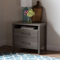 South Shore Gravity 2-Drawer Night Stand Gray Maple