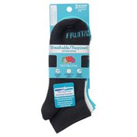Fruit of the Loom Women's 3 Pair Breathable Cotton No-Show Socks Black