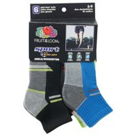 Fruit of the Loom Boys' 6 Pair Sport Ankle Socks Black 9-2.5