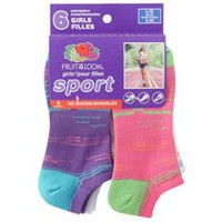 Socquettes invisibles de sport Fruit of the Loom pour filles en paq. de 6 paires 4-10