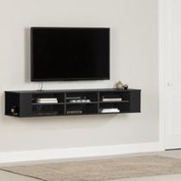 South Shore City Life Wall Mounted Media Console Black
