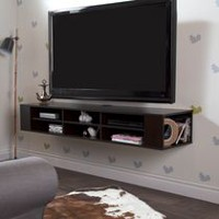 South Shore City Life Wall Mounted Media Console Chocolate