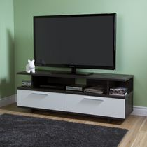 South Shore Reflekt TV Stand with Drawers, for TVs up to 60 inches Gray