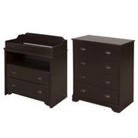 South Shore Fundy Tide Changing Table and 4-Drawer Chest Espresso