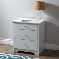South Shore Vito Nightstand with Charging Station and Drawers White