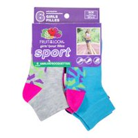 Fruit of the Loom Girls' 6 Pair Sport Ankle Socks 4-10