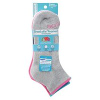Fruit of the Loom Women's 3 Pair Breathable Cotton Ankle Socks Grey
