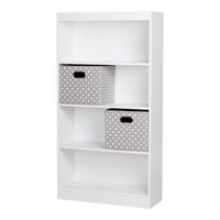 South Shore Smart Basics 4-Shelf Bookcase with 2 Fabric Storage Baskets Pure White