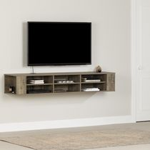 South Shore City Life Wall Mounted Media Console Weathered Oak