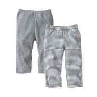 Burt's Bees Boys' 2-Pack Footless Pants 12 months