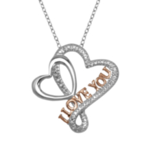 "Sterling Silver Two Tone ""I Love You"" Double Heart Pendant with Diamond Accent"