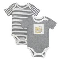 Burt's Bees Boys' 2-Pack Fresh Honey Bodysuit 12 months