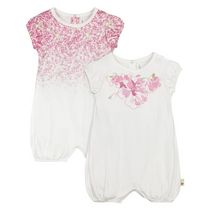 Burt's Bees Girls' Short Sleeve 2-Pack Waterlilly Bubbles Romper 18 months