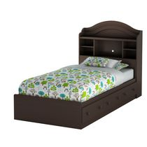 South Shore Summer Breeze Twin Mates Bed with Drawers and Bookcase Headboard - 39 inch Set