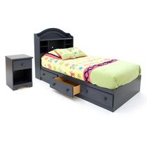 South Shore Summer Breeze Twin Mates Bed, Bookcase Headboard (39 in.) and Nightstand Set