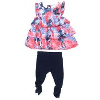 George Girls' 2-Piece Legging Set with Ruffle Top Blue 6-12 months