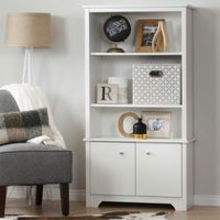 South Shore Vito 3-Shelf Bookcase with Doors Pure White