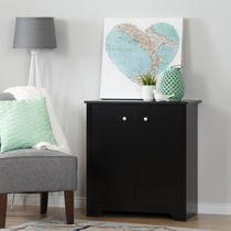 South Shore Vito Small 2-Door Storage Cabinet Pure Black