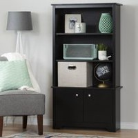 South Shore Vito 3-Shelf Bookcase with Doors Pure Black