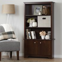 South Shore Vito 3-Shelf Bookcase with Doors Sumptuous Cherry