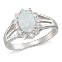 "Calypso Sterling Silver Oval Ring with ""White"" Synthetic Opal and CZ stones"