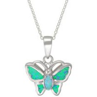 "Calypso Sterling Silver Butterfly Pendant with ""Light Blue"" Synthetic Opal on 18"" Sterling Silver Chain"