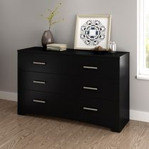 South Shore Gramercy 6-Drawer Double Dresser Pure Black