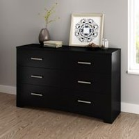 Commode double à 6 tiroirs Gramercy de Meubles South Shore Pure Black