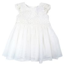 George Girls' Short Sleeve Lace Lamp Dress White 6-12 months