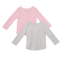 George Toddler Girls' Waffle Tee, 2-Pack Grey & Pink 3T
