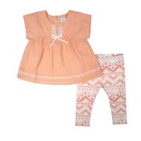 George Girls' 2-Piece Nature Legging Set Peach 12-18 months
