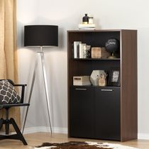 South Shore Tasko Brown Walnut and Pure Black Storage Bookcase with Doors