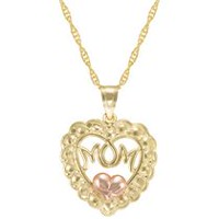 "10Kt Heart Mom Pendant with Pink Puffed Heart on 18"" Gold Filled Chain"