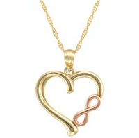 "10Kt Yellow Heart with Rose Gold ""Infinity"" Pendant on 18"" Gold Filled Chain"
