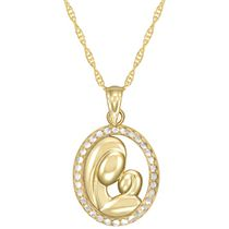 Pendentif « Mother & Child » de coupe diamant en or jaune 10 ct et rhodium sur chaîne en or rempli, 18 po