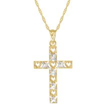 "10Kt Yellow/Rhodium Cross ""Heart"" Pendant on 18"" Gold Filled Chain"